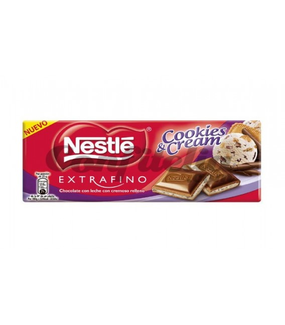 Chocolate Nestle extrafino Cookies & Cream 98 gramos