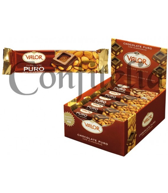 Pure chocolate with almonds Valor 45 grs.